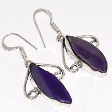 "Silver Plated Earrings 1.8"" Va-1498 Agate Geode Slice 925"
