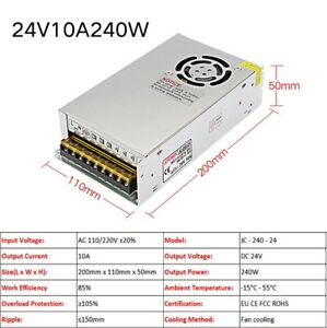 24V Regulated 10A 240W Switching Power Supply Transformer Security Equipment