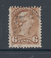 Canada Sc 39 used 1872 6c yellow brown Small Queen, perf 12