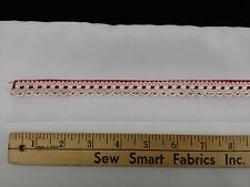 """Red and White Interlaced Check w/ White Eyelet Trim; 1.375"""" W, 5 yd. Piece (CTO)"""