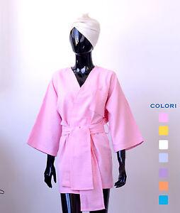 Kimono corto Nido Ape, accappatoio Donna taglia unica 100% Made in Italy