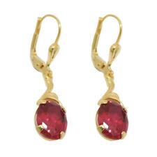 333 Echt Gold Brisuren Ohrringe Ohrhänger Creolen Damen Rubin rot schöne ovale
