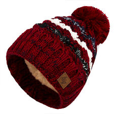 Mens Womens Cable Knitted Bobble Hat Plain Beanie Very Warm Winter Pom Wooly  Cap 70188a1ebba5