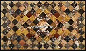 Black Marble Dining Table Random Mosaic Stone Inlaid Beautiful Furniture H5079