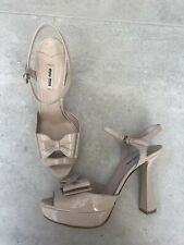 PRADA MIU MIU Nude Sculpted Heel Patent Leather Shoes with Bow 41 UK 7,5