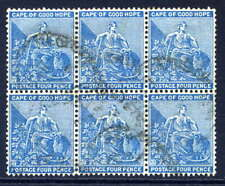 CAPE OF GOOD HOPE 1884-90 4D BLUE COMMERCIALLY USED BLOCK OF SIX. GIBBONS 51.