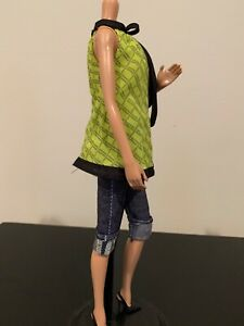 BARBIE TOP MODEL TERESA-2007-RARE chartreuse blouse and knee length shorts+shoes