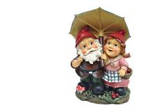 Outdoor Gnome Umbrella Couple Statue Love Boy Girl Elf Sculpture Wife Mom Gift