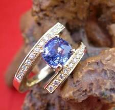 Königlicher Ceylon Saphir Brillant Damen Ring in 750 Gelbgold