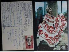 1970 Canal Zone Postcard-La Pollera ties 8c Stamp cd Albrook Air Force Base
