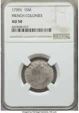 1739 X )( NGC AU50 Early American French Colonies Sou Marque Rarity 6 Vlack 214a