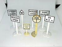 8 Vintage Marx Train Yard Signs- Right-O-Way- Railroad Signs- O Gauge