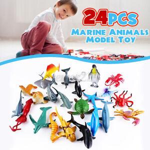 24PCS Ocean Animals Figure Sea Creatures Model Toys Dolphin Turtle Kid