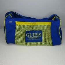 Vintage 90's Guess Waterpro Blue Yellow Water Resistent Sports Duffle Bag