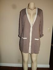 New York and Co Women's Cardigan Sz L Taupe V Neck Button Down Sweater NWOT Top
