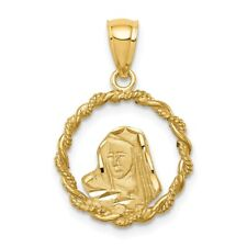 14K Brushed & Diamond-Cut Virgin Mary Pendant New Charm Yellow Gold
