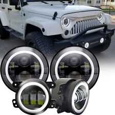 2007-2017 Jeep Wrangler JK Halo LED Headlight + Halo LED DRL Fog Light Combo Kit