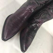 TONY LAMA Womens 6.5 M BOOTS purple black VINTAGE SNAKESKIN Cowboy Western