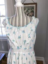 Vintage Aqua Roses Shabby Cottage Chic Dress Apron Day Work Wear 1950's