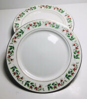 Set of 4 Gibson Everyday China CHRISTMAS HOLLY & BERRIES Gold Trim Dinner Plates
