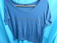 OASIS TOP = GREY STUDDED - SIZE S - APPROX UK 12/14