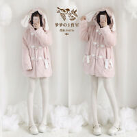 Winter Thicken Japanese Jacket Coat Bunny Ears Hooded Kawaii Warmth Sweet Lolita
