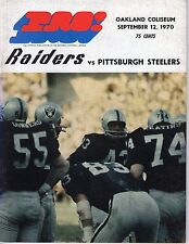 1970 9/12 NFL Football Program,Pittsburgh Steelers @ Oakland Raiders, Pre-season