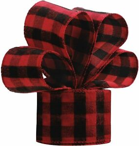 """1 metre 63mm (2.5"""") RED/BLACK BUFFALO CHECK WIRED EDGE RIBBON BRUSHED REVERSE"""