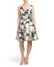 NWT Stunning Nicole Miller Floral Jacquard Dress Navy Blue Gold Size 10