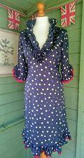 Wrap LONDON Bleu Marine Pois Dotty Robe Vintage Volants Plissé Rouge à Volants Bord 12