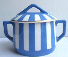 French Majolica blue - white ceramic SUGAR BOWL, Sarreguemines: model Fox Trott