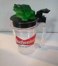 New listing 1996 Budweiser Talking Frog Plastic Flip Cup Beer Mug