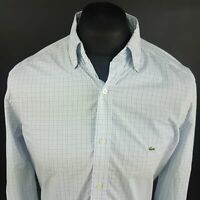 Lacoste Mens Vintage Shirt 40 (MEDIUM) Long Sleeve Blue Regular Fit Check Cotton