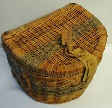 Harrods Wicker Vintage Picnic Bag Basket Retro Large Semi Circle Rare