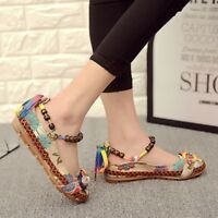 Boho Casual Flat Shoes Women Flats Handmade Beaded Ethnic Ankle Straps Loafers