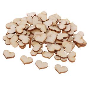 100pcs Blank Heart Shapes LASER CUT WOODEN Wood Craft Wedding Embellishments