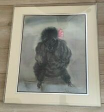 1940s Pastel Drawing Black Poodle w Pink Signed JANA w Russ Morgan Orchestra