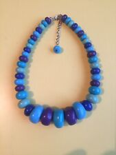 Fab Rainbow Plastic Necklace/Beads/Retro/Kitsch/ Plastic/Vintage Look/Bobble