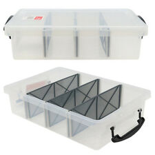 6L Clear Plastic Storage Box with Removable Dividers Containers Bin Tubs Tub