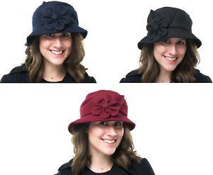 Ladies Outdoor Melton Wool Casual Walking Packable Bucket Cloche Hat Heather