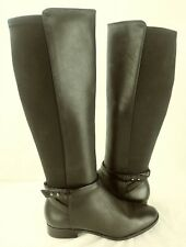 White House Black Market Wos 6 Boots wide calf RANGER Black Textile Leather 6026