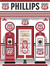 PHILLIPS 66 GAS PUMPS SERVICE STATION SCENE WALL MURAL SIGN BANNER ART 6' X 8'