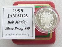 1995 Jamaica Bob Marley 50th Anniv $50 Fifty Dollar Silver Proof Coin Box Coa