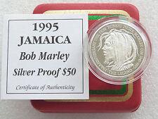 1995 GIAMAICA BOB MARLEY cinquantesimo anniv $50 cinquanta DOLLARO ARGENTO PROOF COIN BOX COA