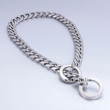 """9/11/15mm Silver Flat Curb Link 316L Stainless Steel Dog Chain Collar 12""""-30"""""""
