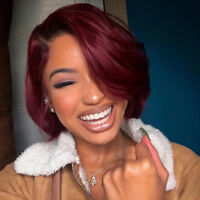 Ombre Wine Red Pre Plucked Bob Lace Front Wig Malaysian Remy Human Hair Wigs Y9