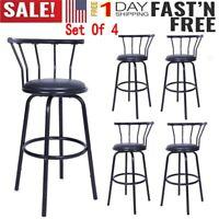 NEW Indoor Set of 4 Vintage Iron Swivel Vinyl Seat Pub Bar Stools Chair Barstool
