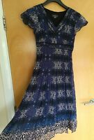 Ladies PER UNA Dress Size 8 Blue Purple Crinkle Party Evening Wedding