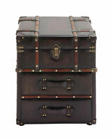 Zimlay Traditional 2-Drawer Wood And Leather Steamer Trunk Side Cabinet 55748