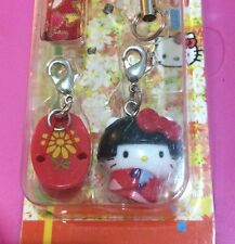 New Japan Hello Kitty Geisha Maiko Kimono Mobile Cell Phone Strap Charm Set
